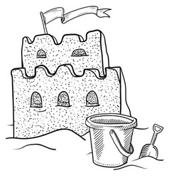 doodle sand castle terrible vector image vector image