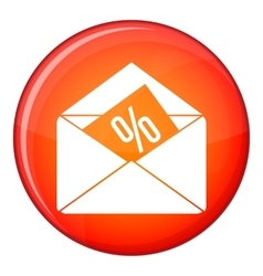 Envelope with percentage icon flat style vector