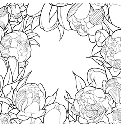 Floral black and white frame vector