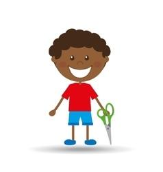 Happy boy student scissors graphic vector