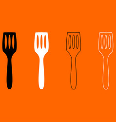 Kitchen spatula black and white set icon vector