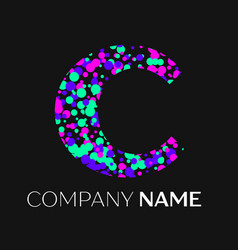 letter c logo with pink purple green particles vector image