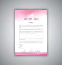 Letterhead with watercolour design vector image vector image