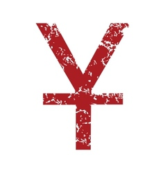 Red grunge currency yen logo vector