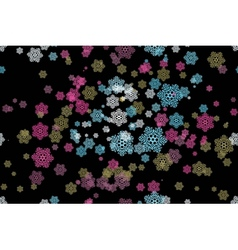 seamless pattern of snowflakes on a black vector image