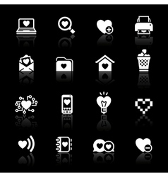 Set valentines day icons love on the internet symb vector