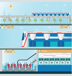 Sky train station with ticket vending machines vector