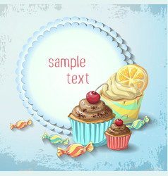 sweets of cake and caramel banner vector image