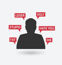 Teenager boy victim of cyberbullying vector