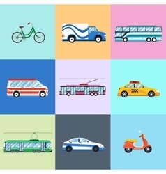 Urban city vehicles icon set vector image vector image