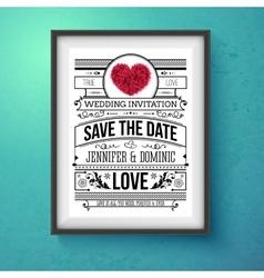 Wedding invitation concept design on frame vector