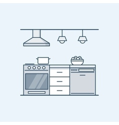 Modern kitchen interior with gas stove and vector