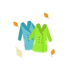 Two warm coats as autumn attribute vector