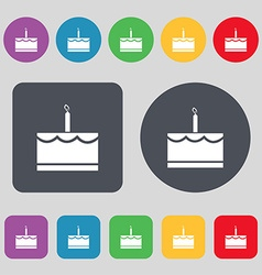 Birthday cake icon sign a set of 12 colored vector
