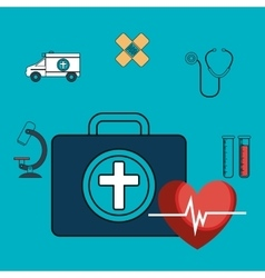 Set first aid kit services medical isolated vector