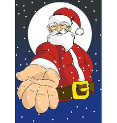 Christmas series happy santa giving hand vector