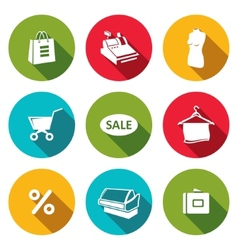 Shopping flat icons collection vector