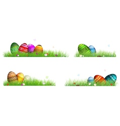 Easter eggs with spring flowers in the grass vector