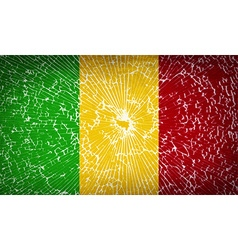 Flags mali with broken glass texture vector