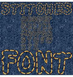 stitches font denim vector image