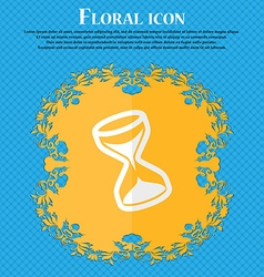 Hourglass floral flat design on a blue abstract vector