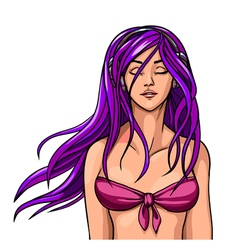 Beautiful girl in a bathing suit with long hair vector