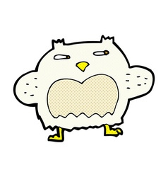Comic cartoon suspicious owl vector