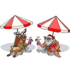 Santa claus and reindeer tan vector