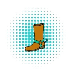 Cowboy boot icon comics style vector