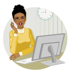 African American woman at the computer eps10 vector image vector image