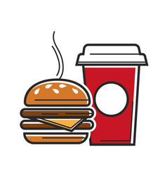 American fast food symbols for usa america travel vector