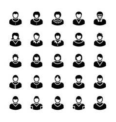 Avatars glyph icons 12 vector