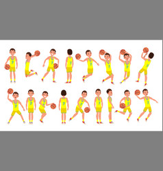 basketball male player yellow uniform vector image vector image