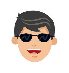Character man face smiling with sunglasses vector