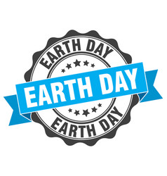 earth day stamp sign seal vector image vector image