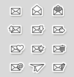 Envelope icons on stikers vector image vector image
