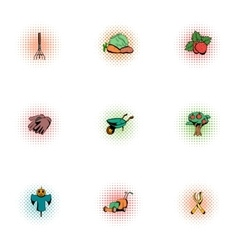 Farm icons set pop-art style vector