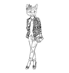 Fashion of cat girl dressed up in city style vector