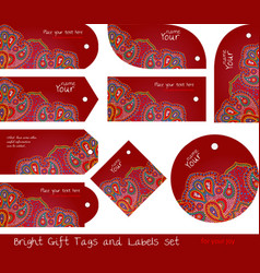 Floral paisley red tag set for gifts and goods vector
