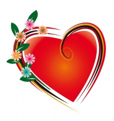 flowers and heart vector image
