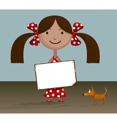 Girl with blank sign vector image vector image