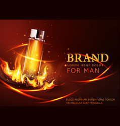glass vial on a dark background in flames and vector image