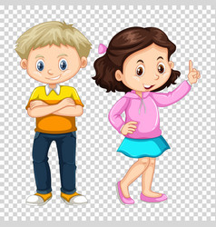Happy boy and girl on transparent background vector