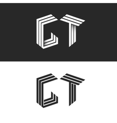 Initials monogram letters gt logo isometric vector