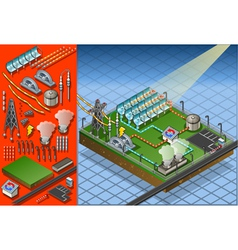 Isometric termo solar plant in production of vector
