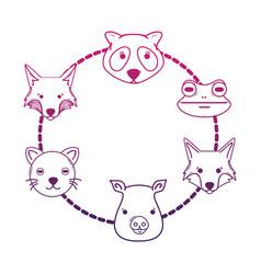 line set cute heads wilds animals design vector image