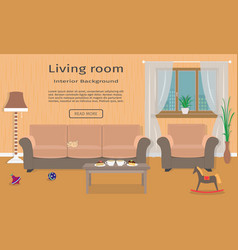 living room interior web design banner including vector image vector image