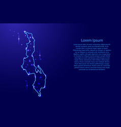 Map malawi from the contours network blue vector