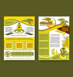 Olive oil extra virgin product posters set vector