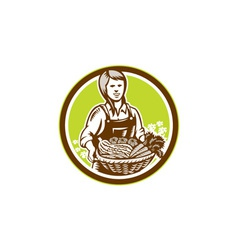 Organic female farmer farm produce harvest woodcut vector